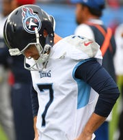 Tennessee Titans kicker Cairo Santos (7) reacts after missing his fourth field goal of the game.