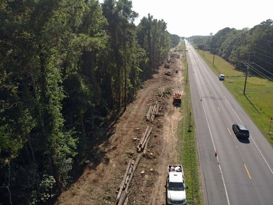 An aerial view of a new hiking and biking trail being constructed in Somerset County in September 2019. It will extend from Crisfield to Marion Station, officials said.