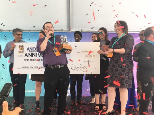 """""""Anniversary"""" is the grand prize winning film for the 2019 Louisiana Film Prize. Gregory Kallenberg and the Film Prize staff presented the check for $50,000 to director, writer producer, and leading actor James Harlon Palmer and his cast and crew."""