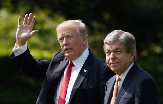 U.S. President Donald Trump and U.S. Sen. Roy Blunt (Mo.) depart the White House on Aug. 30, 2017, in Washington, D.C.