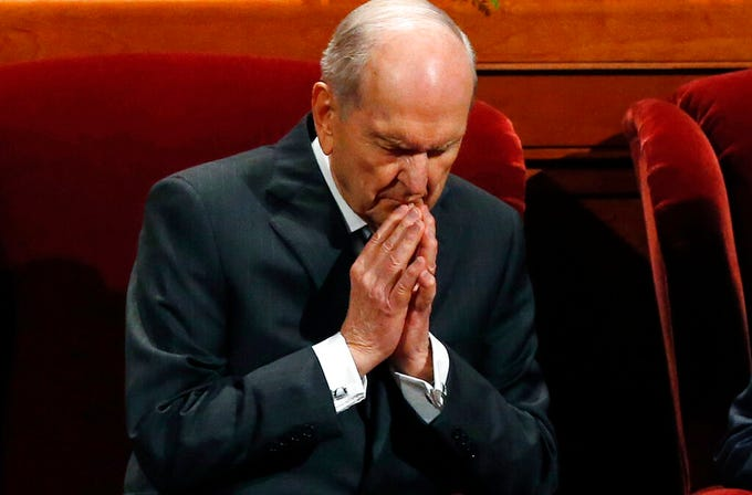 FILE - In this Oct. 6, 2018, file photo, The Church of Jesus Christ of Latter-day Saints President Russell M. Nelson prays during the church's twice-annual conference, in Salt Lake City. Nelson has rolled out a dizzying number of policy changes during his first two years at the helm of the faith, leading to heightened anticipation for what he may announce at this weekend's church conference in Salt Lake City. (AP Photo/Rick Bowmer, File)