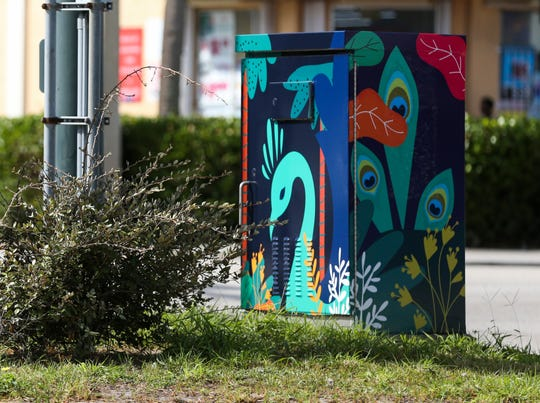 A decorated traffic box on the corner of Thirteenth Street and Orange Avenue on Friday, October 04, 2019, in Fort Pierce.