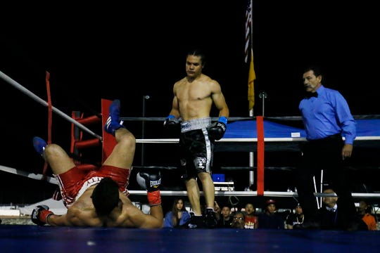 Zach Prieto wins by knock out against Ernesto Berrospe in the first-ever Johnny Tapia Boxing Invitational Saturday, Oct. 5, at Vado Speedway in Vado, N.M.