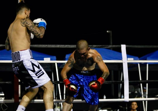 Henry Arredondo, black trunks, defeated Henry Arredondo won a an undercard bout at Vado Speedway Park on Saturday, Oct. 5, 2019.