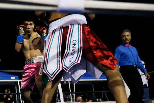 Abel Mendoza wins the fight against Gustavo Molina during the first-ever Johnny Tapia Boxing Invitational Saturday, Oct. 5, 2019, at Vado Speedway in Vado, New Mexico.