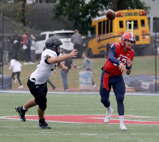 Quarterback Joey Carino of Archbishop Stepinac during a Catholic High School Football League game against St. Anthony's  at Archbishop Stepinac High School in White Plains Oct. 6, 2019. Stepinac defeated St. Anthony's 42-7.