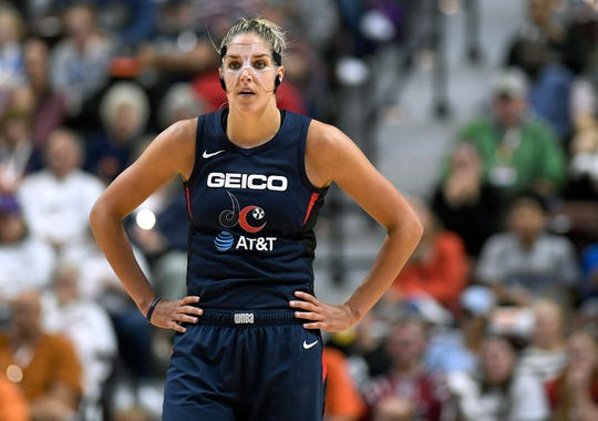 Washington Mystics' Elena Delle Donne stands on the court during the second half in Game 3 of basketball's WNBA Finals, Sunday, Oct. 6, 2019, in Uncasville, Conn.