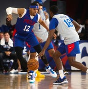 Sixer Tobias Harris (12) guards Shake Milton during the Sixers' Blue-White Scrimmage at the 76ers Fieldhouse.