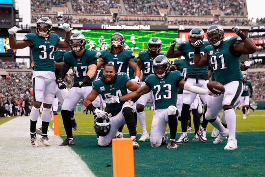 The Philadelphia Eagles defense pose for a picture after an interception by Rodney McLeod #23 in the second quarter against the New York Jets at Lincoln Financial Field on Sunday.