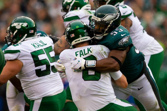 Brandon Graham (55) of the Philadelphia Eagles sacks Luke Falk (8) of the New York Jets in the third quarter at Lincoln Financial Field on Sunday, Oct. 6, 2019 in Philadelphia. The Eagles defeated the Jets 31-6.