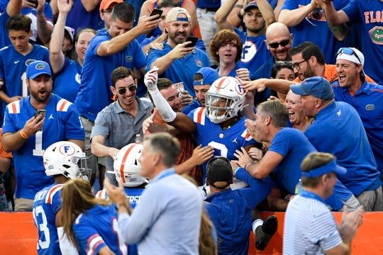 Florida defensive back Marco Wilson celebrates his fourth-quarter interception vs. Auburn.