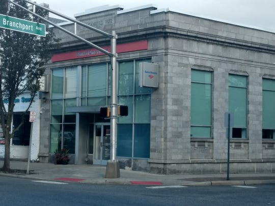 Bank of America building at the corner of Branchport Avenue and Broadway in Long Branch.