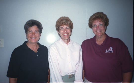 (SPORTS) 9/9/99 L-R Pat Barnaba, Manasquan, Nancy Gross, Wall and Barbara Hughes, Toms River South.
