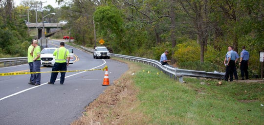 Police investigate an accident involving an overturned vehicle near Sunnyside Equestrian Center on Middletown-Lincroft Road in Middletown, NJ Monday, October 7, 2019.
