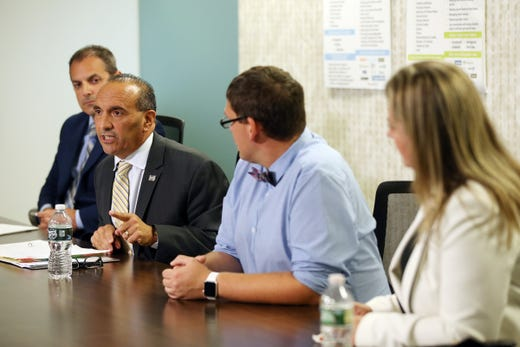 (L-R) Monmouth County Freeholder candidates Republican candidate and Wall Township Committeeman Nick DiRocco, Republican Freeholder Tom Arnone, Democratic candidates Michael Penna and Moira Nelson attend an editorial board meeting at the Asbury Park Press in Neptune, NJ Monday, October 7, 2019.