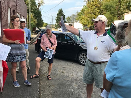 Bill Alexander leads a tour of Old Town Swannanoa for the Swannanoa Valley Museum & History Center on Sept. 28.