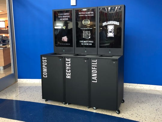 The Islander Green Team at Texas A&M University-Corpus Christi unveiled this Evo Bin in the University Center rotunda on Monday, Oct. 7, 2019.  It's an interactive set of bins for composting, recycling and trash with digital screens.