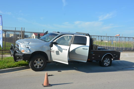 Naval Air Station - Corpus Christi offficals released a photo of a silver Dodge pickup that attempted to gain access into the base Monday, Oct. 7, 2019. The driver was released to ATF agents.