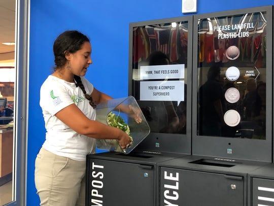 Melissa Zamora, founder of the Islander Green Team and a facilities coordinator at Texas A&M University-Corpus Christi, deposits cauliflower and lettuce scraps from the university dining hall into an Evo Bin on Monday, Oct. 7, 2019.