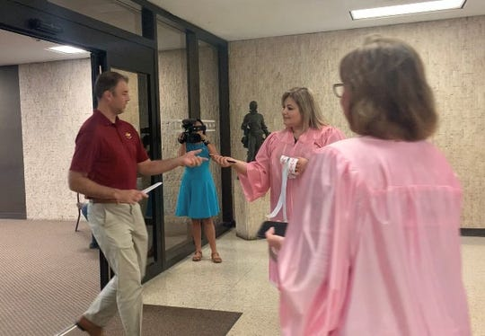 Nueces County judges wore pink as they raised awareness for breast cancer Monday morning.