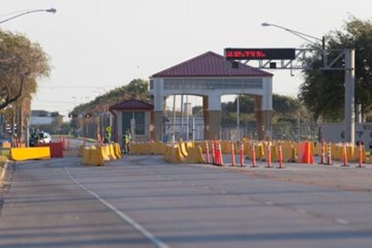One of the gates at Naval Air Station-Corpus Christi remains blocked to traffic on Monday, Oct. 7, 2019, after a suspect was taken into custody. The incident prompted the base and nearby Texas A&M University-Corpus Christi to go on lockdown.