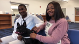 Millville High School welcomes a new  staffer, Lily, 2, a French Bulldog, who is helping students find calm and comfort during the school day.