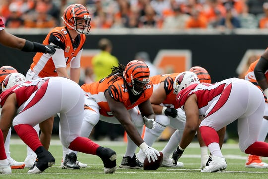 Cincinnati Bengals center Trey Hopkins (66) gets set to snap the ball in the first quarter of an Week 5 NFL football game against the Arizona Cardinals, Sunday, Oct. 6, 2019, at Paul Brown Stadium in Cincinnati.