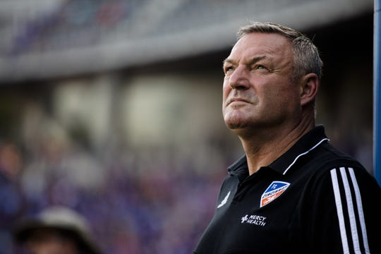 FC Cincinnati head coach Ron Jans looks on before the MLS match between FC Cincinnati and Columbus Crew SC on Sunday, Aug. 15, 2019, in Cincinnati.