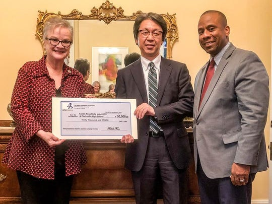 From left to right, President Alisa White, APSU, Hiroyuki Kobayashi. Consul-General of Japan, and Director Millard L. House II, CMCSS.