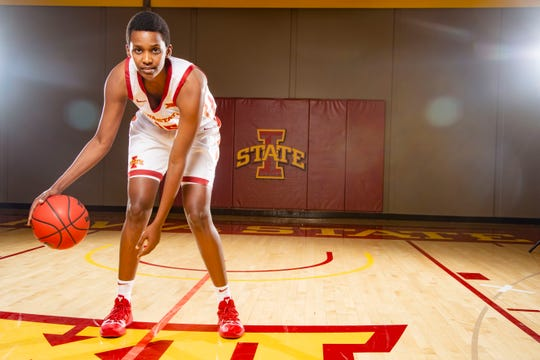 Ins Nezerwa of Iowa State stands for a photo at Women's basketball media day in Ames Monday, Oct. 7, 2019.