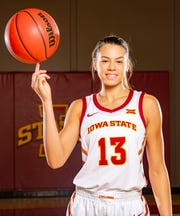 Adriana Camber of Iowa State stands for a photo at Women's basketball media day in Ames Monday, Oct. 7, 2019.