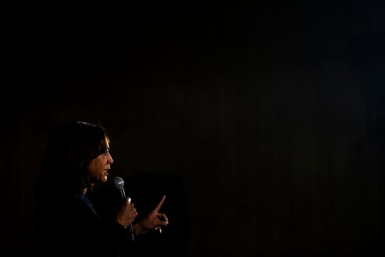 U.S. Sen. Kamala Harris, D-CA, speaks to a crowd of people gathered for a town hall event on Sunday, Oct. 6, 2019, in the Scheman Building on the Iowa State University campus in Ames.