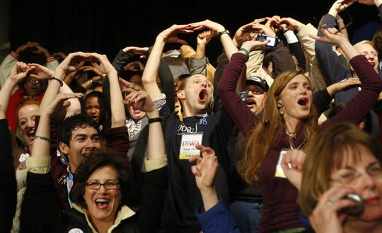 Barack Obama supporters form the 'O' for Obama as they cheer for their candidate before he takes the stage at Hy-Vee Hall on Jan. 3, 2008. Obama won the Democratic Iowa Caucuses.