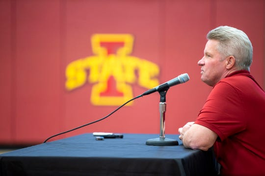 Iowa State Women's basketball coach Bill Fennelly takes questions during media day in Ames Monday, Oct. 7, 2019.