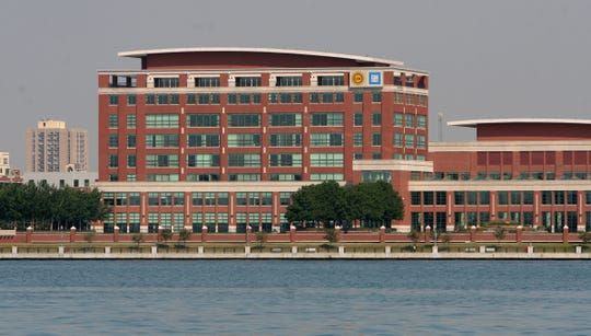The UAW-GM Center for Human Resources building in Detroit. Picture taken on the Detroit River on Tuesday, July 22, 2014 by Mary Schroeder/Detroit Free Press