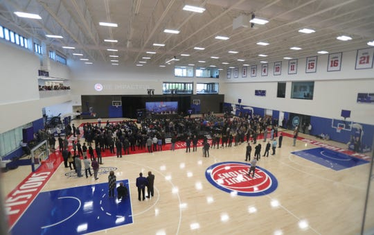 Interior of the new Henry Ford Health System Detroit Pistons Performance Center in Detroit, Monday, Oct. 7, 2019.