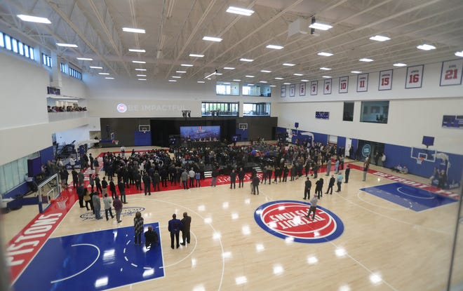 The interior of the new Henry Ford Health System Detroit Pistons Performance Center in Detroit.