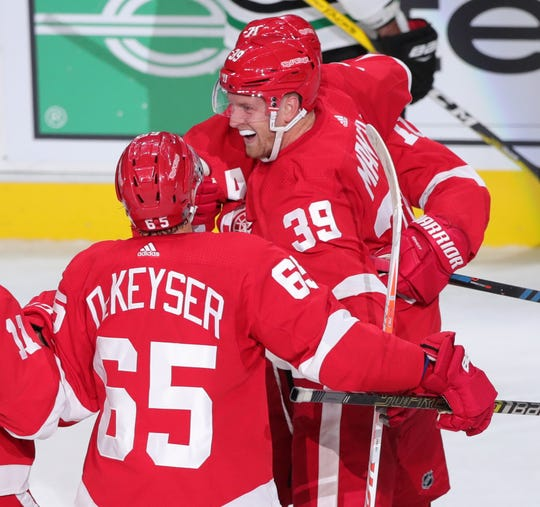Anthony Mantha (39) celebrates his fourth goal of the game during the third period Sunday.