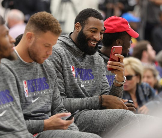 Pistons center Andre Drummond during the opening of the new Henry Ford Health System Detroit Pistons Performance Center in Detroit, Monday, Oct. 7, 2019.