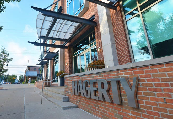 This Aug 27, 2019 photo, shows the Hagerty headquarters on Cass Street in Traverse City, Mich. (Dan Nielsen/Traverse City Record-Eagle via AP)