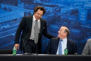 Detroit Pistons owner Tom Gores, left, and Mayor of Detroit Mike Duggan chat during the opening of the new Detroit Pistons Performance Center.