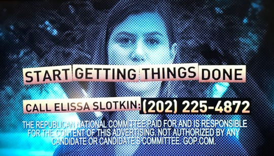 A screenshot of a Republican National Committee ad criticizing U.S. Rep. Elissa Slotkin, D-Holly. The TV commercial was aired on the weekend of Oct. 5-6, 2019.