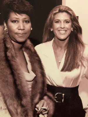"""Aretha Franklin and photojournalist Linda Solomon, author of """"The Queen Next Door,"""" at a private benefit for the DIA in October of 1985."""