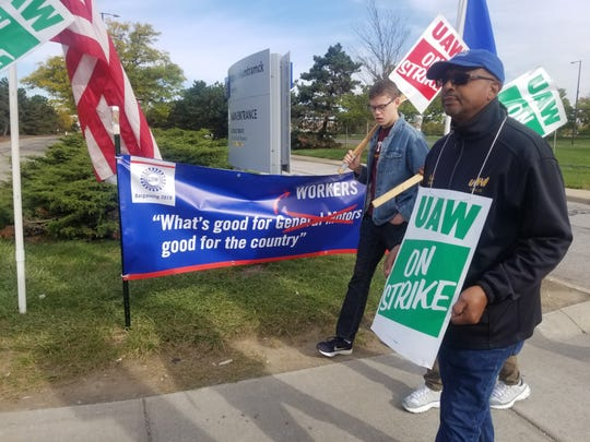 """We can't lose anything,"" said Karlton Byas, 63, of Detroit while marching outside the Detroit-Hamtramck Assembly Plant, where he does health and safety training for the UAW. ""We can't make any concessions. They're making a lot of profits with less people. We haven't shared in that prosperity."""
