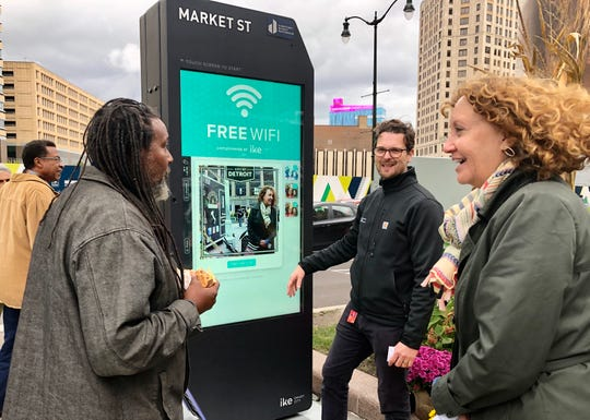The Downtown Detroit Partnership conducted a demonstration last week in Cadillac Square of interactive kiosks being pushed for deployment in the city.