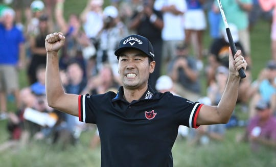 Kevin Na celebrates after winning the Shriners Hospitals for Children Open golf tournament on the second playoff hole Sunday in Las Vegas.