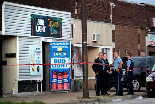 Kansas City, Kansas, police investigate the scene of a shooting at Tequila KC Bar Sunday, Oct. 6, 2019, in Kansas City, Kansas.