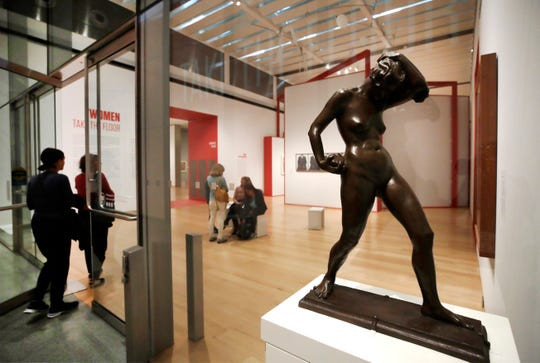 """A bronze statue by American artist Katharine Lane Weems is displayed near the entrance to an exhibit """"Women Take the Floor"""" at the Museum of Fine Arts in Boston. In the wake of a student group incident last spring when the world-class museum was accused of racism, the MFA has scrambled to make amends."""