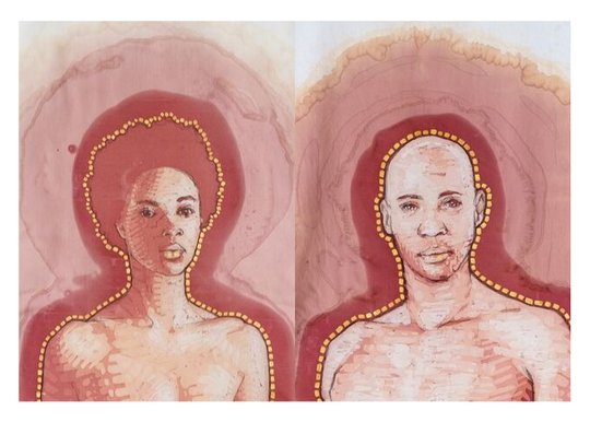"Artist and Corning native, Amelia Fais Harnas, will exhibit her latest and last red wine stain artwork depicting Adam and Eve, called ""The Merism."""