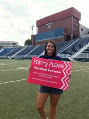 Reitz graduate Jessica Kluesner, owner of Pretty Please Homemade Ice Cream, at home in the Reitz Bowl.